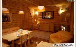 Комната отдыха в бане — дизайн интерьера, отделка и оформление